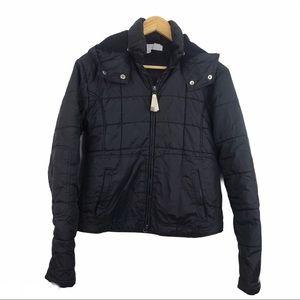 Zara Zip up black women hooded puffer jacket M